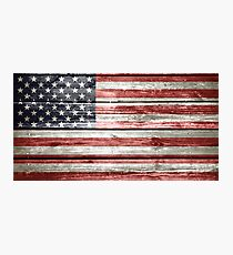 American Flag on Distressed Wood Photographic Print