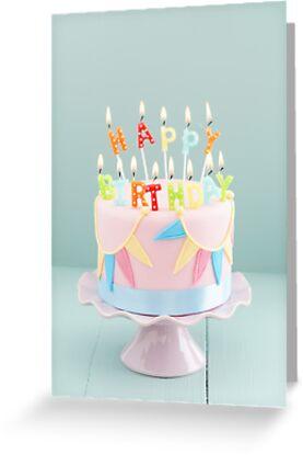 Birthday Cake Greeting Card By Elisabeth Coelfen