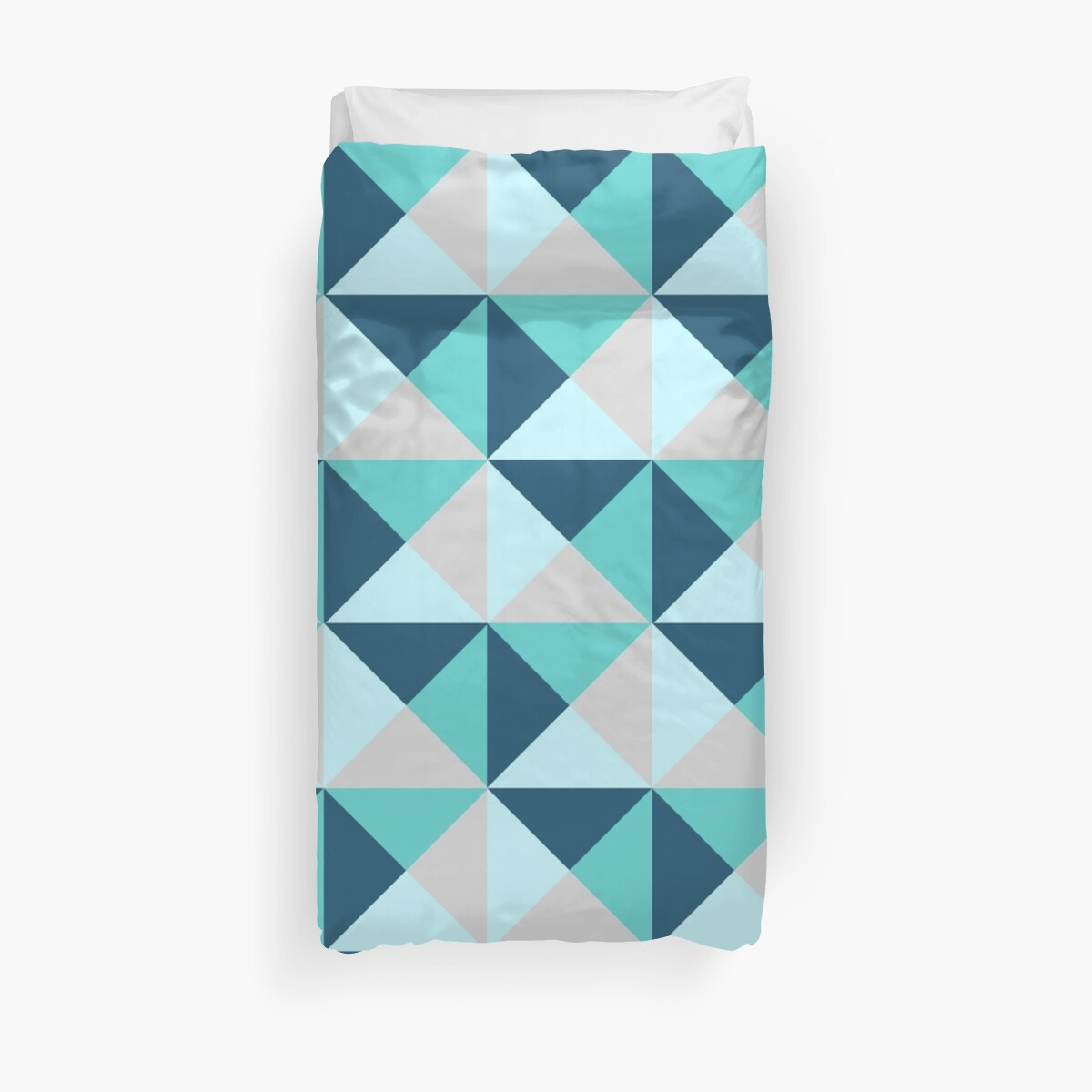 """Blue Teal Grey Triangle Geometric Pattern"" Duvet Covers ..."