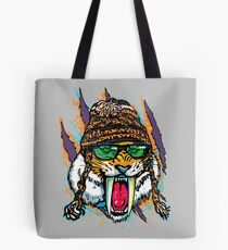 Sabre Tooth Tiger Chillin' With Winter Beanie Tote Bag