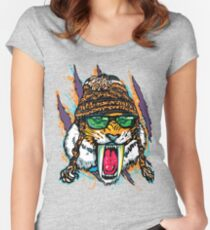 Sabre Tooth Tiger Chillin' With Winter Beanie Women's Fitted Scoop T-Shirt