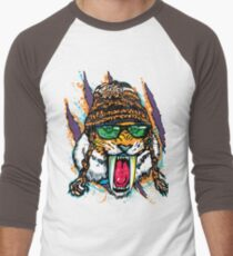 Sabre Tooth Tiger Chillin' With Winter Beanie Men's Baseball ¾ T-Shirt