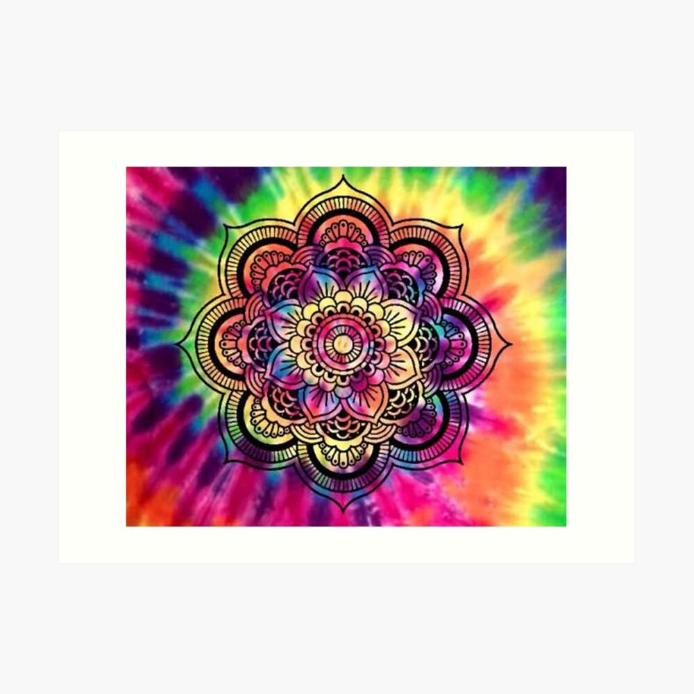 Rainbow Tie Dye Mandala Art Print
