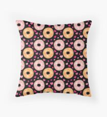 Frosted Donuts & Pink Hearts Throw Pillow