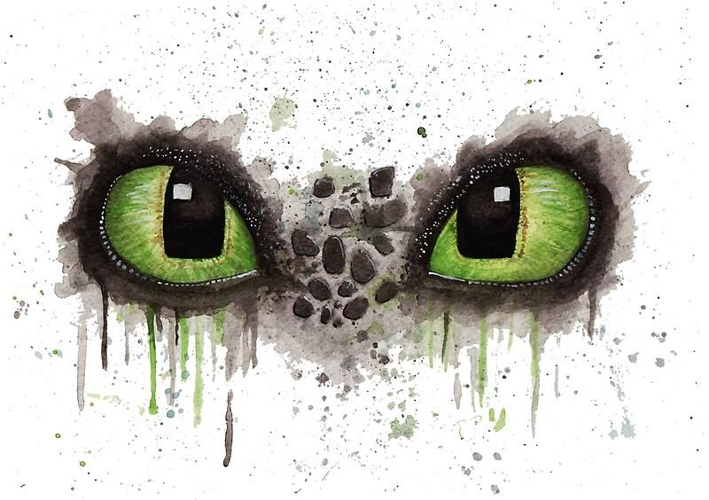 Quot Toothless Eyes In Watercolour Quot By Jenvaljen Redbubble