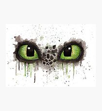Toothless' eyes in watercolour Photographic Print