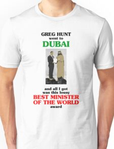 Greg Hunt went to Dubai and all I got was this lousy Best Minister of the World award T-Shirt