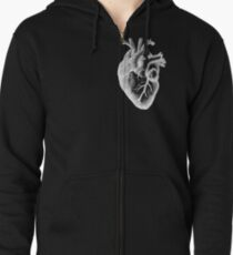 Anatomical Heart - White Outline Zipped Hoodie