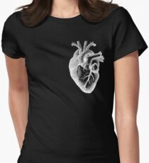 Anatomical Heart - White Outline Women's Fitted T-Shirt