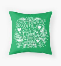 Every little thing - green Throw Pillow