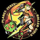 Planet Zebes Roller girls  by coinbox tees