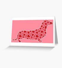 Dachshund Valentine Hearts Pattern Greeting Card