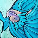 Blue Betta Fish, Illustrated Painting by Leni Kae