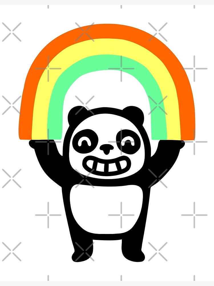 Panda Found A Rainbow by obinsun