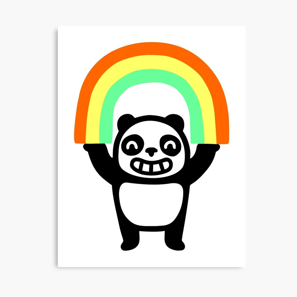 Panda Found A Rainbow Canvas Print
