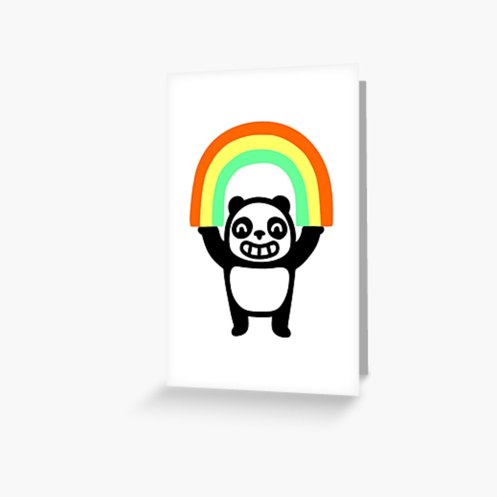 Panda Found A Rainbow Greeting Card