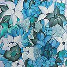Blue Bouquet Horizon, Flower Painting by Leni Kae