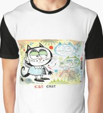 Cartoon cat chatting on mobile phone illustration Graphic T-Shirt