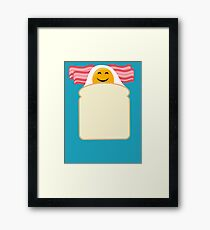 Good Morning Breakfast Cute Bacon and Egg T Shirt Framed Print