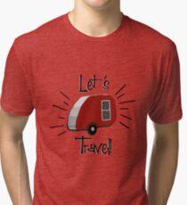 Retro Teardrop Camper  Tri-blend T-Shirt