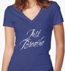 Just Breathe (White-Blue) Women's Fitted V-Neck T-Shirt