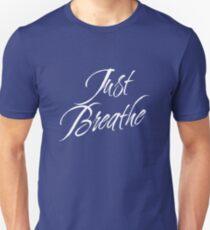 Just Breathe (White-Blue) Unisex T-Shirt