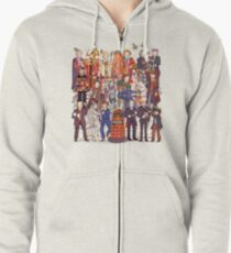 The party doesn't start until the Doctor walks in...twelve times Zipped Hoodie