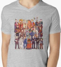 The party doesn't start until the Doctor walks in...twelve times Men's V-Neck T-Shirt