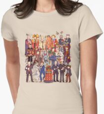 The party doesn't start until the Doctor walks in...twelve times Women's Fitted T-Shirt