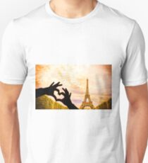 The Eiffel Tower in Paris and hands in a heart shape T-Shirt