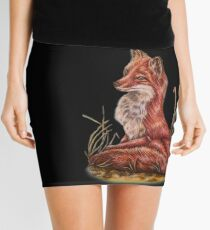 Red Fox Art Animal Drawing Mini Skirt