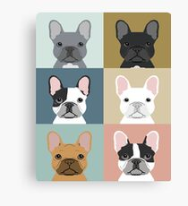French Bulldog portraits pattern dog person gift love animal pet puppy frenchie bulldog valentines Canvas Print