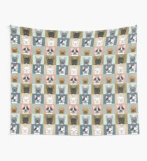 French Bulldog portraits pattern dog person gift love animal pet puppy frenchie bulldog valentines Wall Tapestry