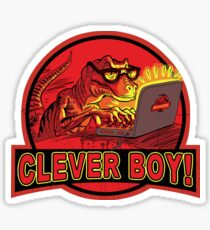 Clever Boy Velociraptor Dinosaur Humor Sticker