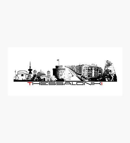 Thessaloniki skyline city black Photographic Print