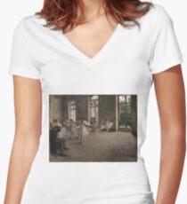 Edgar Degas - The Rehearsal ,Impressionism  ballerina dancer Women's Fitted V-Neck T-Shirt
