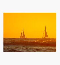 Waikiki Sunset Sailing Photographic Print