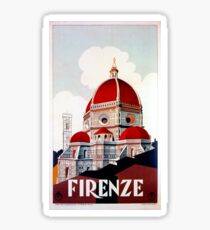 Florence Firenze 1920s Italian travel ad, duomo Sticker