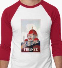 Florence Firenze 1920s Italian travel ad, duomo Men's Baseball ¾ T-Shirt