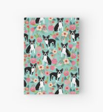 Floral Boston Terrier cute dog spring bloom love valentines day gift terrier black and white puppy Hardcover Journal