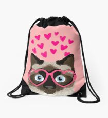 Siamese Cat valentines day love hearts gift for cat lady cute kitten funny cats Drawstring Bag