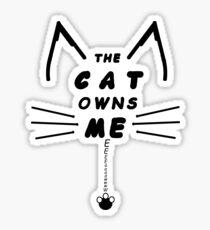 Cat Owns Me - Black Sticker