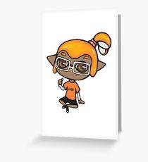 Chibi Inkling Boy (orange) Greeting Card