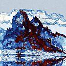 Chinese mountain lake and boat by goanna