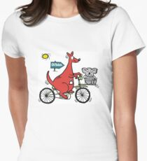 Cartoon showing big red kangaroo riding bicycle T-Shirt