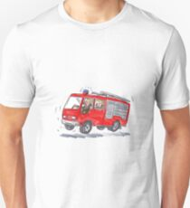 Red Fire Truck Fireman Caricature T-Shirt