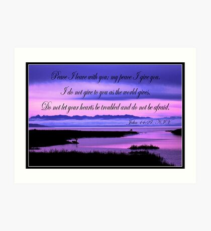 john 14:27 olympic mountains over north puget sound - pink Art Print