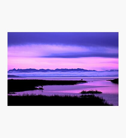 olympic mountains over north puget sound - pink Photographic Print