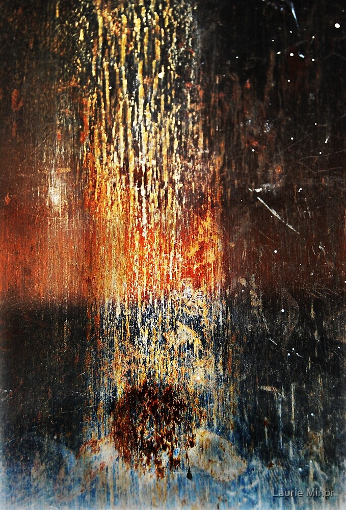 Falling Meteor (Rust Abstract) by Laurie Minor