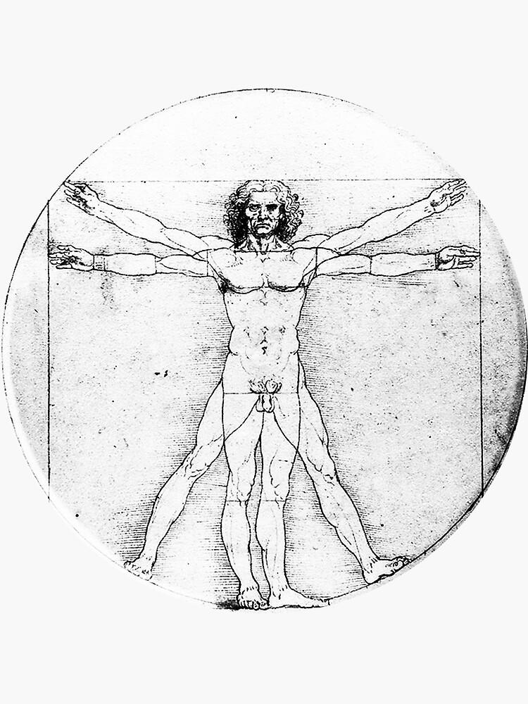 LEONARDO, Da Vinci, Der Vitruvianische Mann, Nackt, KREIS, c.1485, Academia, Venedig, auf SCHWARZEM von TOMSREDBUBBLE